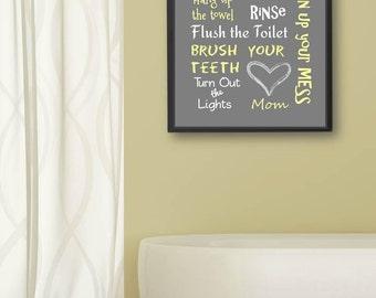 Kids Bathroom Art Decor Bathroom Artwork Printable Art Print Instant Download Bathroom Wall Quote Sign Yellow and Gray