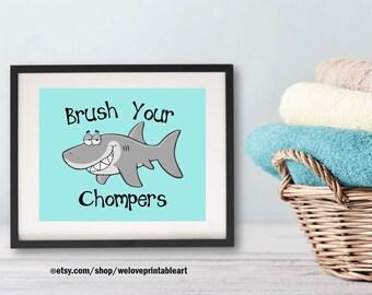 Bathroom Art, Brush Your Teeth, Bathroom Rules, Bathroom Wall Decor, Printable Accessories, Bathroom Decor, Ocean Shark Print Sign