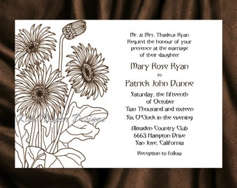 Daisy Flower Floral Wedding Invitation & RSVP  - Floral Wedding Invitation and RSVP - Daisy  Wedding Invitation- Design 8