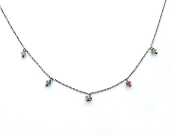 Tourmaline faceted rondelles necklace black silver chain
