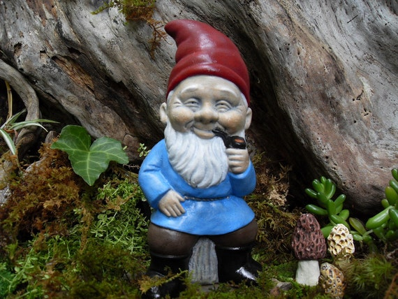 Gnome In Garden: Gnome Statue Elf Statue Smoking Garden Gnome By