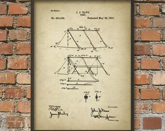 Tent Patent Print - Tent Design - Tent Wall Art Poster - Camping Equipment - Camping Art Print