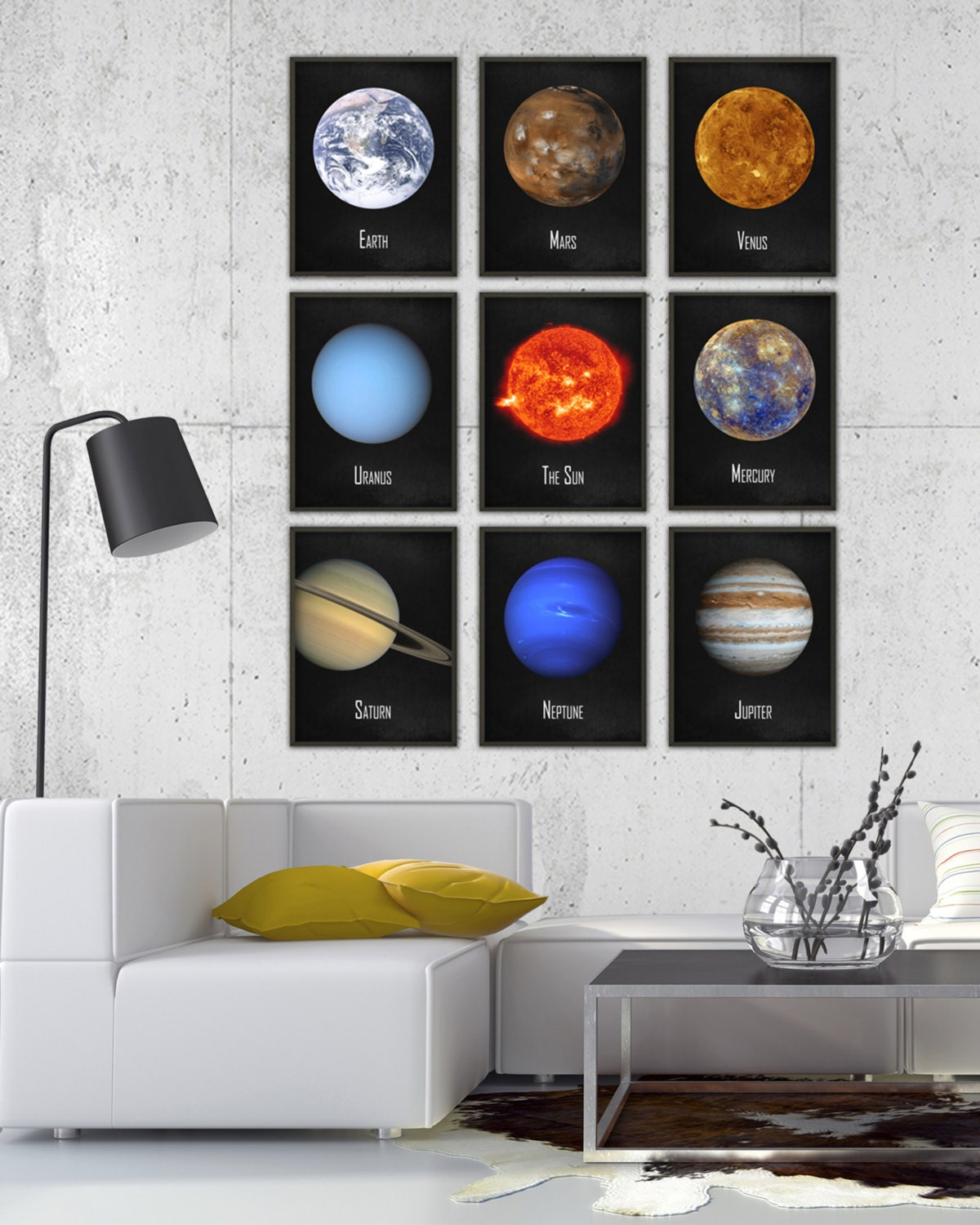 The solar system wall art poster set of 9 nasa astronomy Boys wall decor