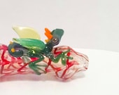 Green Flying Dragon Critter Red Color Changing Hand Blown Glass Tobacco Pipe with Flower Stamp