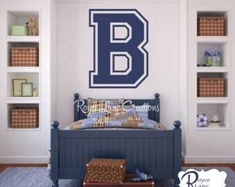 Varsity Initial 16 X 22 for Teen Boys Bedroom Sports Wall Decal Varsity Initial Wall Decal