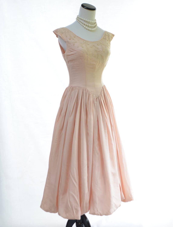 Delicate dusty rose 50s dress vintage dress bridal dress for Vintage rose wedding dress