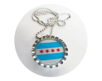 Chicago Flag Bottle Cap Necklace with Stainless Steel Ball Chain - Unisex