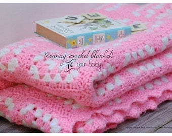 French vintage cover neon pink and white crochet for baby bed, french vintage