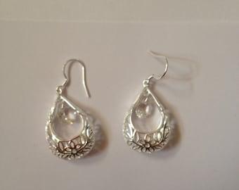 Silver, Rhinestone Crystal, Earrings