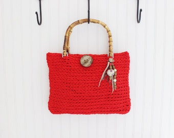 Red Crochet Handmade Handbag