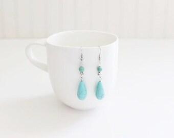 Turquoise Dyed Howlite Dangle Earrings