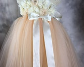 TUTU Flower girl dress Ivory + champagne chiffon Tutu dress Wedding dress Birthday dress Party Dress Newborn 2T to 8T