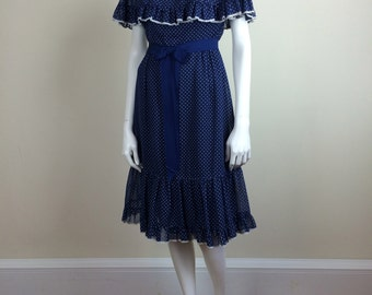 navy & white polka dot dress w/ cape collar