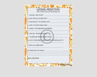 Wedding Predictions Bridal Shower Printable Game,Bridal Shower Game,Orange Bridal Shower,Floral Bridal Shower,Boho Bridal Shower