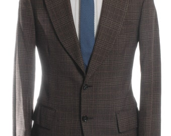 Vintage 1970's Burton Brown Check Wool Suit 36 XS