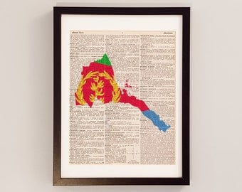 Eritrea Dictionary Art Print - Asmara Art - Print on Vintage Dictionary Paper - Eritrean Flag, Keren, Teseney, Mendefera - Africa Art