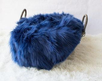 Blue Faux Fur Prop, Long Faux Fur, Dark Blue Faux Fur, Newborn Photo PRop. Ready to Ship.
