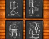 SET of 4 BEER Posters, Vintage Patent Illustration, Art Print, Canvas, Wall Art, Home Decor, Beer Brewing, Beer Making, Beer Art - s168