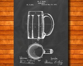 "Retro 1876 ""Beer-Mug"" Vintage Patent Illustration, Art Print Poster, Wall Art, Home Decor, Beer Drinking, Oktoberfest, Party, Gift Idea 168"