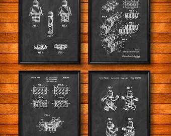 SET of 4 LEGO Art Posters, Vintage Patent Illustration, Art Print or Canvas, Wall Art, Home Decor, Legos, Building Blocks, Legoland s352