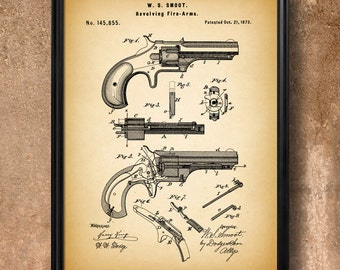 "Retro 1873 ""Revolving Firearm"" Vintage Patent Illustration, Art Print Poster, Wall Art, Home Decor, Gun, Handgun, Pistol, Revolver, Gift 871"