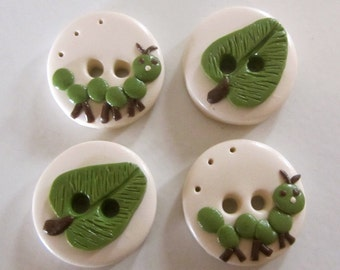 Caterpillar Buttons - Set of 4