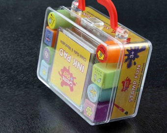 Small Clear Plastic Carry Case of 8 stamps and ink pad