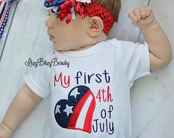 First 4th Fourth of July baby girl personalized custom name red white blue heat headband korker
