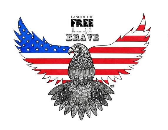 Zentangle Of Eagle American Flag American Pride Usa Land Of