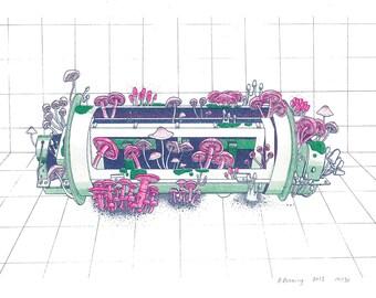 Cesium Beam Tube in Mycotime risograph art print