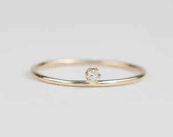 Unique engagement ring,  simple engagement ring, delicate petite diamond ring, dainty solitaire ring, 1kk yellow gold, gol-r106-1.8 / 2.0mm