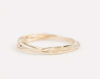 14k 18k gold trinity ring, dainty rings, three rings, textured ring, hammered ring,stacking rings, rose gold, white gold, platinum, gol-r103