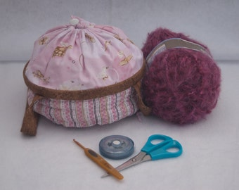 Pink Lullaby Small Project Bag/Knit Yarn Crochet/Basket/Purse