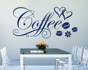 Wall Decal Quote Vinyl Sticker Decal Art Home Decor Mural Decals Quotes Coffee Flower Coffee Beans Hearts Decal Cafe Kitchen Bedroom MS425