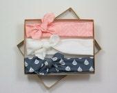Chevron Organic Cotton Knotted Headband/ Baby Headband/ Toddler Headband/ Jersey Knit Chevron Pink Navy White Headband/ Set of Three