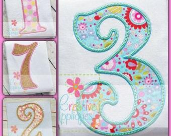 Sydney Numbers Birthday Set Applique Digital Machine Embroidery Design 3 Sizes, number applique
