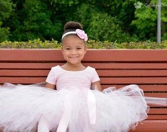 Blush Pink Flower Girl Tutu, Long Tulle Skirt, Blush Pink Tutu, Full Length Tutu, Ankle Length Tutu, Baby Tutu, Toddler Tutu, Girls Tutu
