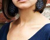Blue lace denim earrings Jeans, denim wedding, denim  jewelry, jeans jewelry, dangle earrings, tatting jewelry for girlfriend, gift for her