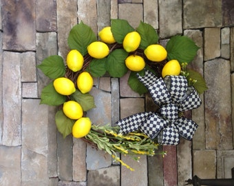 Lemon Wreath, Yellow Wreath, Summer Wreath, Fruit Wreath, Welcome Wreath