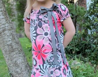 Sophia: Pink and Gray Flower Ruffle Dress