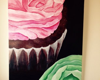 Original acrylic cupcake painting on canvas. Colourful wall Art.