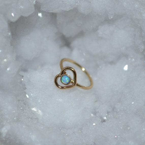 Gold Heart Nose Ring Hoop - Nose Stud - Blue Opal Tragus Earring Hoop - Cartilage Hoop Earring - Daith Earring - 18g Rook - Conch Piercing