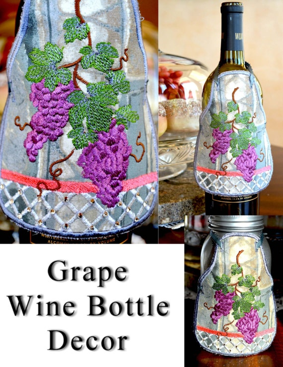 Items similar to wine bottle apron wine bottle decor for How to decorate a wine bottle for a gift