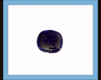 Blue ceramic glass focal, blue focal, bead for pendant, large blue bead, round bead, ceramic bead, pendant, blue pendant, blue bead destash