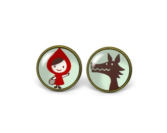 X603- Little Red Riding Hood, Glass Dome Post Earrings