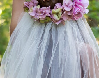 Pink Flower Veil Headdress - Angelina