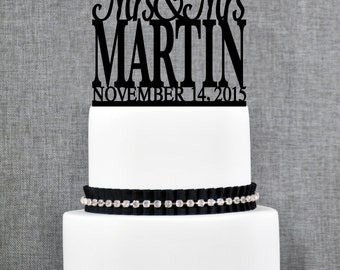 Same Sex Wedding Cake Topper with Elegant font and Date, Same Sex Cake in Script Font- (T154)