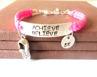 Achieve Believe Running Sneaker 5k 10k Marathon Half Marathon Love to Run Charm Bracelet You Choose Running Charm and Cord Color(s)