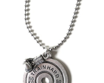 Train Hard or Go Home Unisex Mens Womens Boxing Glove Ball Chain Charm Necklace YOU Choose Necklace Length and Ball Chain Size