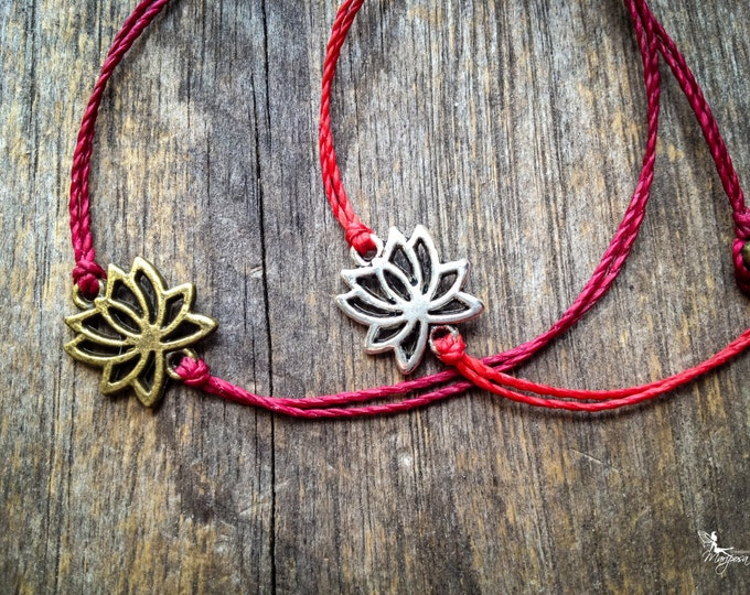 Red string bracelet Lotus - yoga meditation crimson thread symbol luck protection evil eye boho jewelry kabbalah